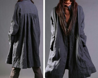 RAMIES/ Free Style Pleated Linen Long Jacket/ Cape/ Black