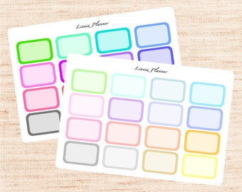 Half Boxes Functional Basics (matte planner stickers, Erin Condren, Happy Planner)