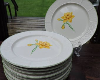 Set of 8 Vintage DAFFODIL SY-7062 Lunch or Salad Plates Yamaka Cellina