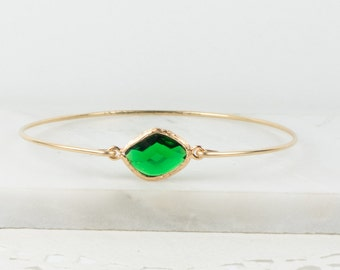 May Birthstone Emerald Gold Bangle, Gold Bracelet, Emerald Bangle Bracelet, Green Gold Bangle, May Birthstone Bracelet