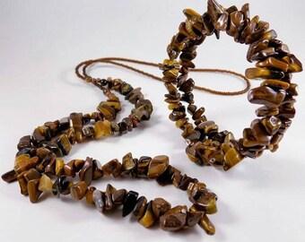 Tigers Eye Jewelry Set - claspless - opera necklace and wrap bracelet