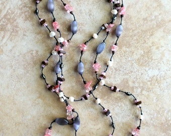 Rustic Necklace, Pink, Boho Necklace, Stone Necklace, Bohemian Bride, Beaded Necklace, Wood beads, Long Necklace, Knotted Necklace,