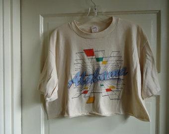 Vintage 80s ALABAMA Tourist Half Shirt sz M/L cropped