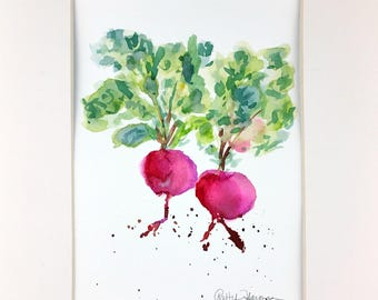 Original Watercolor, Beets Watercolor, Vegetable Watercolor, Beet Painting, Kitchen Decor