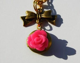 Gold Locket Pink Rose Pendant Necklace