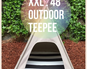 "Outdoor Pet Teepee - XXL 48"" base for extra large dog - custom made to order"