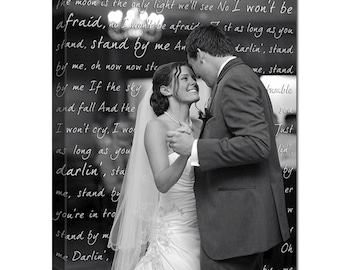 Gifts for men or women Canvas Artwork Your Wedding Pictures to Canvas Art Personalized with Your Words Vows lyrics 12x16 inches