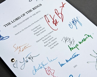 Lord of the Rings: Fellowship of the Ring Film Movie Script with Signatures / Autographs Reprint Unique Gift Christmas Xmas Frodo LOTR Geek