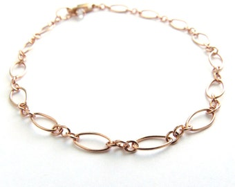 Fancy Link Bracelet • Simple Minimal Bracelet • Modern Jewelry • Stacking Bracelet • Layering Bracelet • Rose Gold jewelry • Gold Bracelet