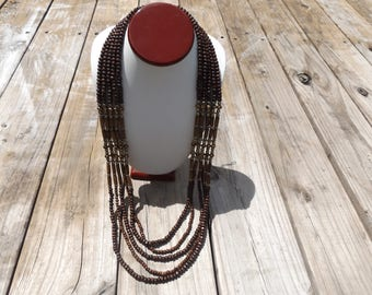 Wood and Plated Glass Beaded Long Statement Necklace