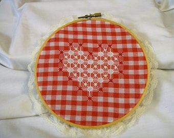 Hoop Art, Heart, Chicken Scratch Embroidery, Red and White, Hand Embroidery,