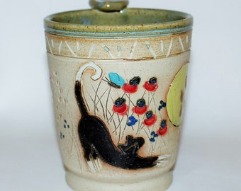 Mug Handmade Pottery Tuxedo Cat with Colorful Butterflies in the Sun
