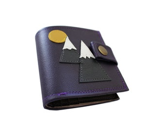 Berge) Bifold Geldbörse mit Druckknopf (Plus Reißverschluss)