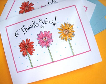 Gerbera Daisy Thank You Notes - Flower Note Cards - Gift Stationery