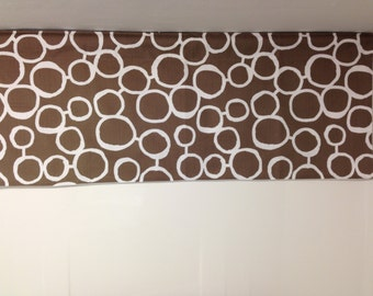 """Brown and white, freehand circles, valance, lined valance, 42"""" x 16"""""""