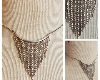 Sterling silver fringe necklace 925 Chevron
