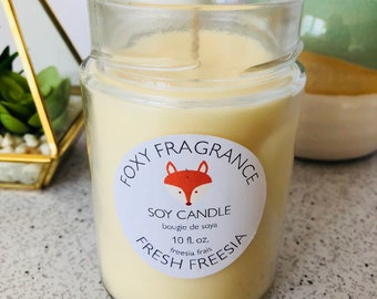 Fresh Freesia Soy Candle - Natural - Handmade - Flowers - Floral - Summer - Mother's Day Gift