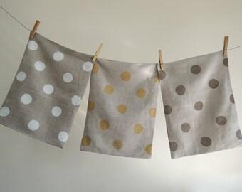 Polka Dot hand block printed natural gray brown linen modern decorative pillow cover spring home decor
