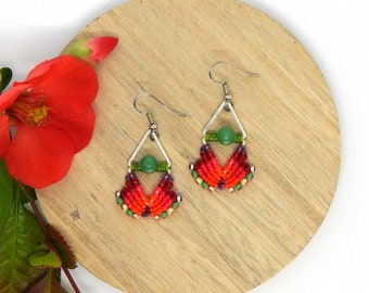 Red Stud Earrings orange dangle triangles woven micro macrame silver plated beads