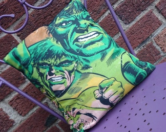 Hulk Avengers 14x14 Pillow Cushion Cover Upcycled Eco friendly