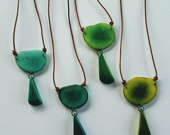 Colorful Tagua Nut Pendant. Tagua Necklace. Long Boho Pendant in Greens and Teal. Adjustable Necklace. Natural Tagua Jewelry. Teal Pendant.