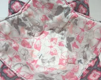 Microwave Bowl Cozy - pale pink butterflies