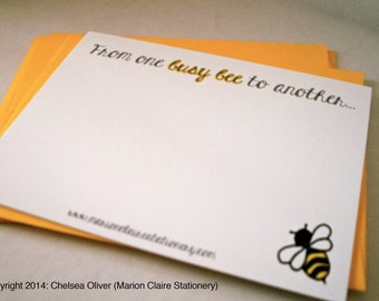 Cute Notecards - Busy Bee Notecards - Bumblebee