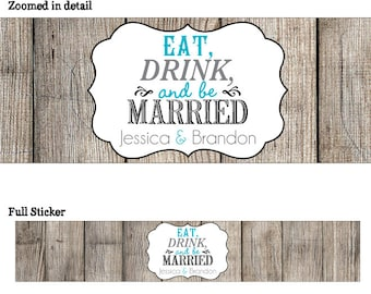 50 Personalized Glossy WATERPROOF Wedding Water Bottle sticker - many designs to choose from - change designs to any color or wording WW-013