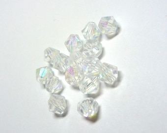 set of 20 beads faceted bicone beads transparent hues iridescent 4mm