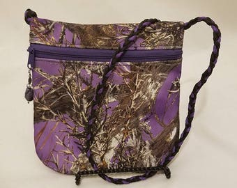 Purple Camo Crossbody Purse
