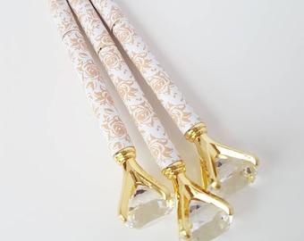 Floral Print White Gold Diamond-topped Ballpoint Pen