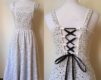 Laced Up Retro Fit and Flare Dress Medium