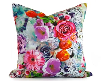 Spring Pillows, Colorful Pillow, Decorative Pillows, Floral Pillow Covers, Floral Cushions, Digital Print Pillow, Boho Gift for Her, 18x18