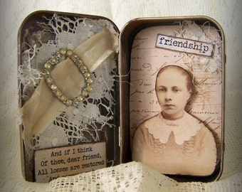 Altered Altoid Tin Assemblage Collage Altered Art Tin  Vintage Tin Case Altered Art Friendship Vintage Mixed Media Found Object Art Collage