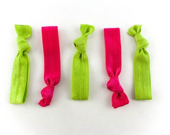 Watermelon Pink and Green Hair Tie Set - 5 Rhinestone and Elastic Hair Ties that Double as Bracelets