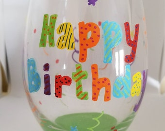 Custom Hand painted birthday wine or beer glasses
