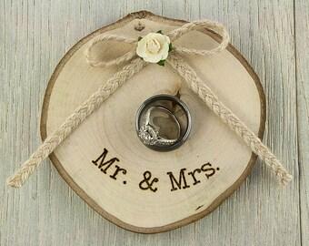 Rustic Wooden Wedding Ring Bearer Pillow -  75103