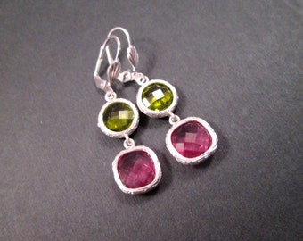 Drop Earrings, Pink and Green Resin Bezels, Silver Dangle Earrings, FREE Shipping U.S.