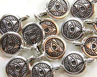 TierraCast The Eye Of Providence Symbol, Divine Providence  Charms,  Findings, Antiqued Silver Plate, 4 or More Pieces, 0512