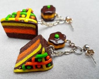 chocolate lemon orange cake/cookie/handmade item/design/jewelry gift/trendy/unique jewelry/fimo/impressive/cute