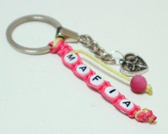 Name Key Ring, Gemstone Key Chain, Knotted Charm Keychain, Personalized Keyring, Key Fob, BFF Gift, Custom Keychain, Name Accessories