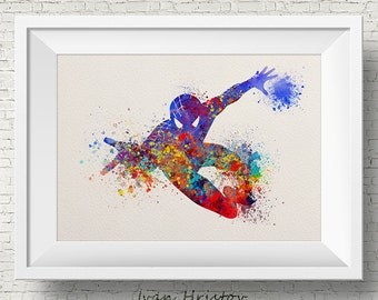 Abstract Spiderman, Super Hero, Spiderman, Kids Poster, Watercolor Painting, Archival Fine Art, Home Wall Decor, Giclee Print
