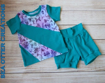 Creepy Crawly Toddler Outfit, I Spy Colorblock Tee and Cuff Shorts, SIZE 18 months