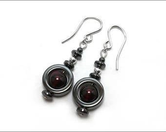 Garnet and Hematite 'Circle' Beads Earrings