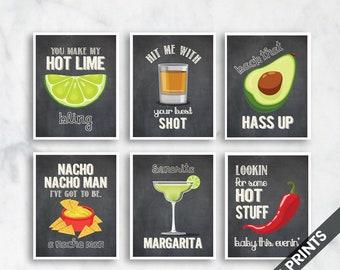 Hot lime, Shot, Avocado, Nacho Man, Margarita, Hot Stuff  (Funny Kitchen Song Series) Set 6 Art Prints (Featured in Vintage Chalkboard)