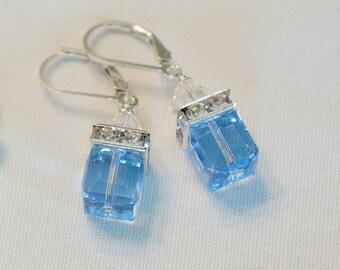 Blue Earrings Bridesmaid Earrings Gift Color Choice Crystal Earrings Swarovski Crystal Modern Wedding Jewelry, Dangle
