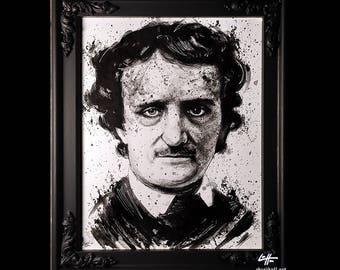 Edgar Allan Poe - Original Illustration - Poetry Author The Raven Nevermore Murders in the Rue Morgue Dark Art Horror Gothic Mustache