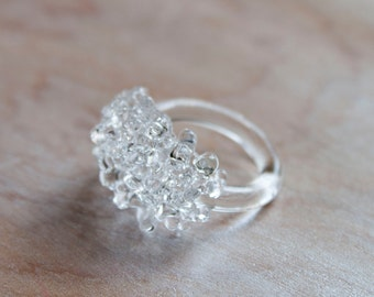 Glass Cluster Ring - Clear