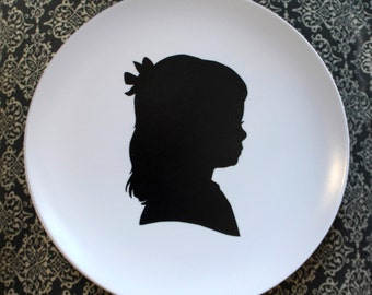 Melamine Plate featuring a silhouette with optional chevron border and color available or black and white
