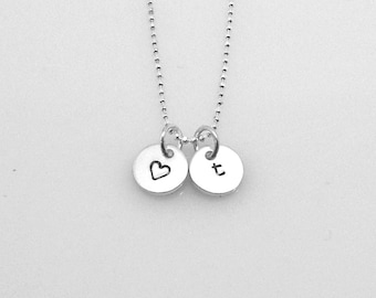 Initial Necklace, Letter t Necklace, Heart Necklace, Charm Necklace, Initial Jewelry, Personalized, Sterling Silver Jewelry, t, All Letters